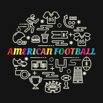 Gradiente colorato di football americano con set di icone di linea