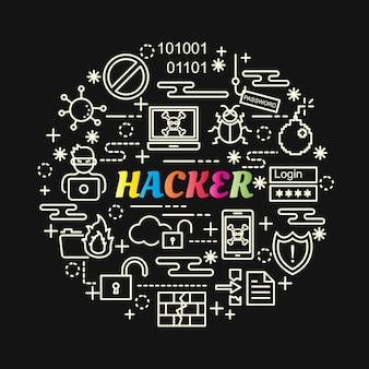 Gradiente colorato hacker con set di icone di linea