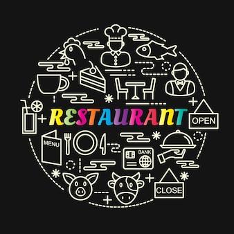 Gradiente colorato ristorante con set di icone di linea