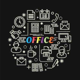 Gradiente colorato ufficio con set di icone di linea