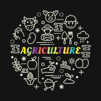 Gradiente di agricoltura colorata con set di icone di linea