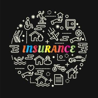 Gradiente di assicurazione colorato con set di icone di linea