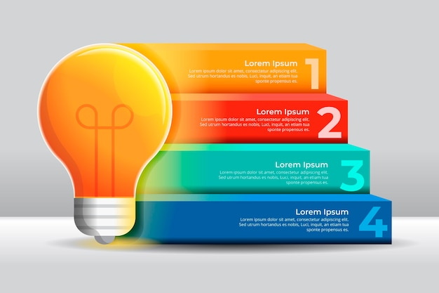 Gradiente di creatività infografica con lampadina