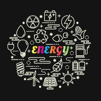 Gradiente di energia colorata con set di icone di linea