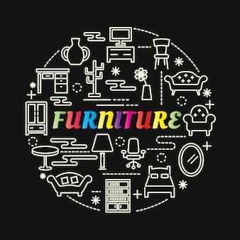 Gradiente di mobili colorati con set di icone di linea