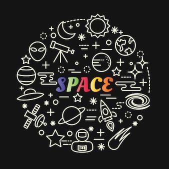 Gradiente di spazio colorato con set di icone di linea