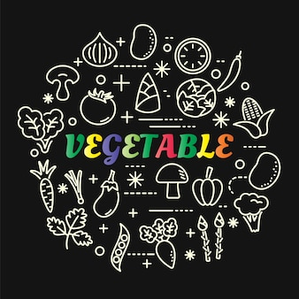 Gradiente di verdure colorate con set di icone di linea