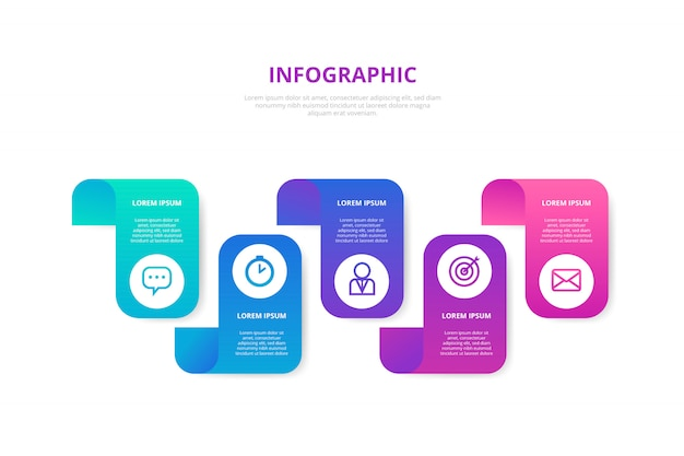 Gradiente infografica con passaggi