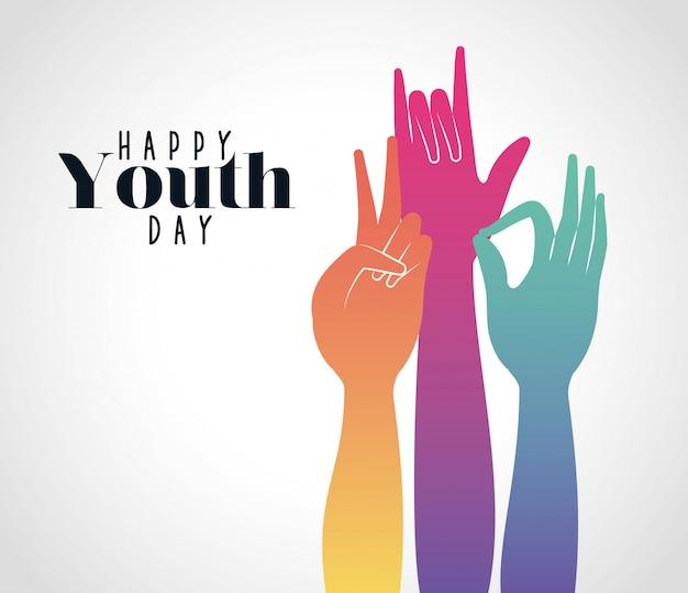 Gradiente multicolore mani in su della giornata della gioventù felice