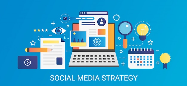 Gradiente piatto moderno di vettore insegna del modello di concetto di strategia di media sociali con icone e testo.