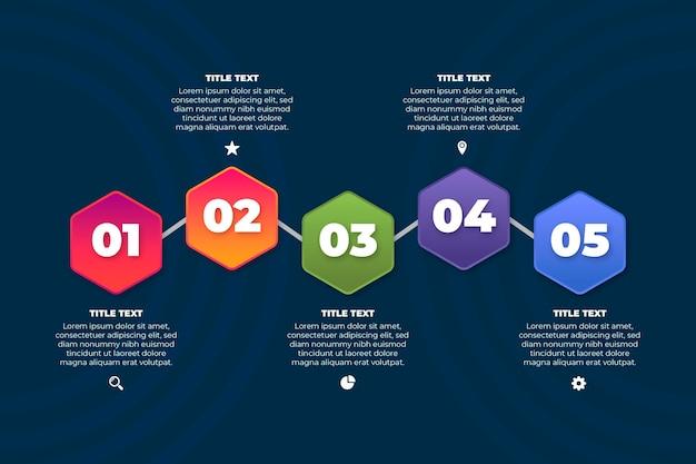 Gradiente processo infografica stile
