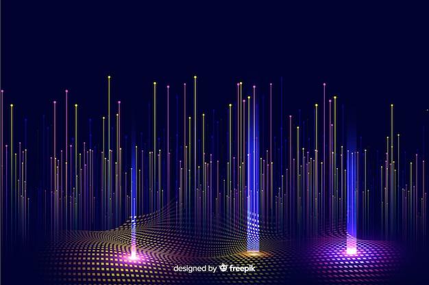 Gradiente tecnologico che cade sfondo di particelle