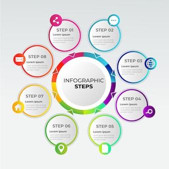 Gradini di infografica affari gradiente