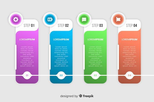 Gradini di infografica modello gradiente