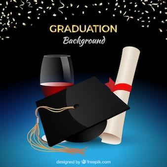 Graduazione celebrazione sfondo con biretta e diploma