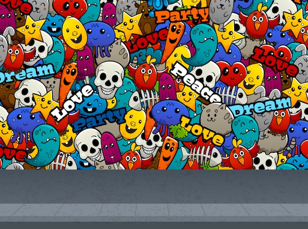 Graffiti characters on wall pattern