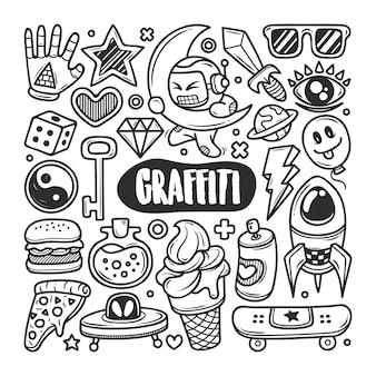 Graffiti disegnati a mano doodle da colorare