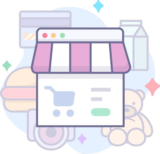 Grafica aziendale con negozio, carta di credito e altro