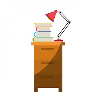 Grafica colorata di classificatore con lampada e libri senza contorno e mezza ombra