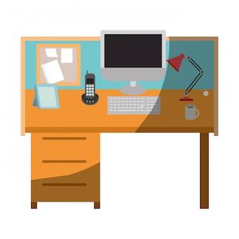 Grafica colorata di interni ufficio sul posto di lavoro senza contorno e mezza ombra