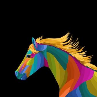 Grafica creativa di pop art cavallo colorato