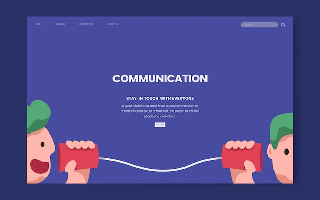 Grafica del sito web di comunicazione e informazione
