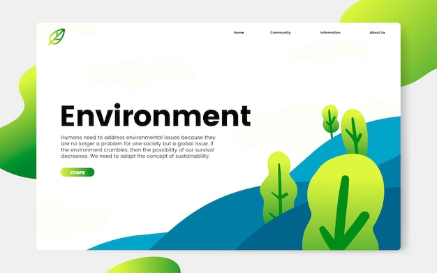 Grafica del sito web informativo sull'ambiente e la natura