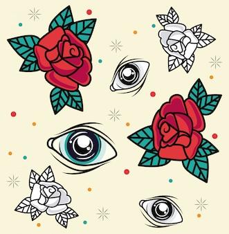Grafica del tatuaggio di rose e occhi