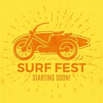 Grafica di abbigliamento vintage t-shirt surf con moto.