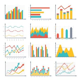 Grafica di affari finanziari e set di schemi