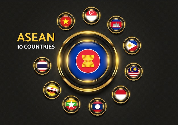 Grafica di bandiera d'oro di lusso di 10 paesi di asean