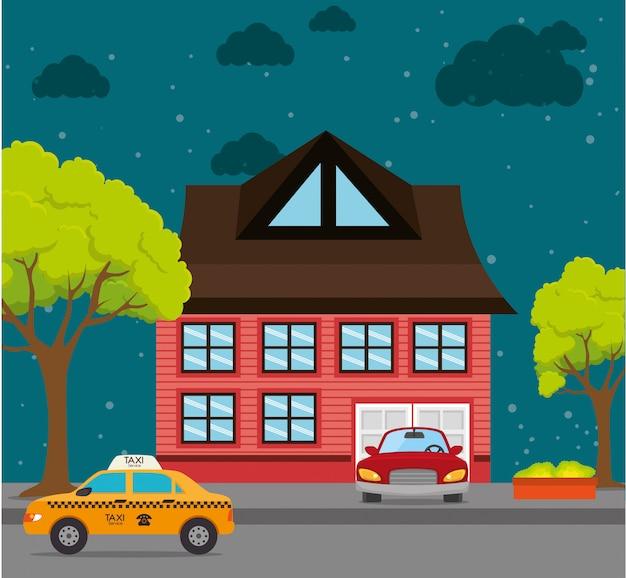 Grafica di cartone animato paesaggio domestico