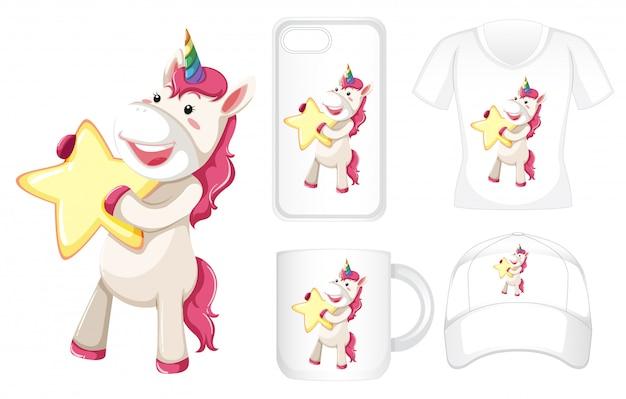 Grafica di diversi prodotti con unicorno e stella