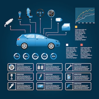 Grafica di informazioni di vettore di parte e accessori auto