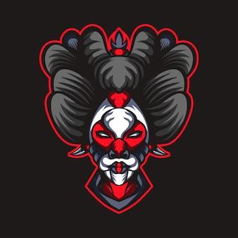 Grafica di maschera testa di geisha