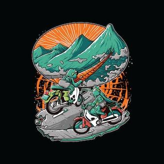 Grafica di motociclista tartaruga