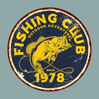 Grafica di segni di latta retrò fishing club