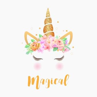 Grafica di unicorno carino con ghirlanda di fiori e glitter oro
