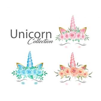 Grafica di unicorno carino con raccolta di fiori ad acquerello