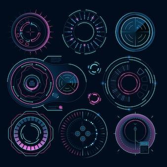 Grafica digitale futuristica, forme radiali hud per l'interfaccia web