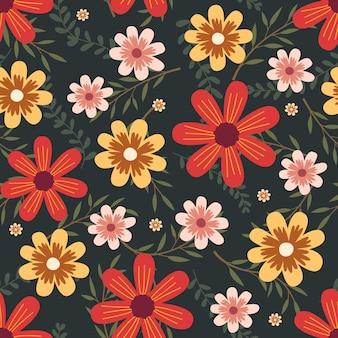 Grafica floreale per abbigliamento e tessuti moda, fiori colorati ghirlanda stile edera con ramo e foglie. sfondo di modelli senza soluzione di continuità.