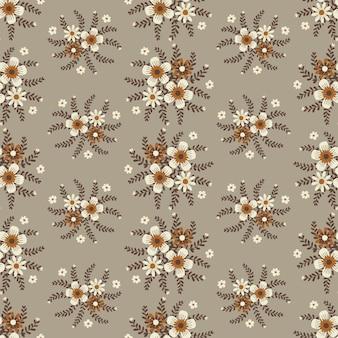 Grafica floreale per abbigliamento e tessuti moda, ghirlanda di fiori autunnali stile edera con ramo e foglie. sfondo di modelli senza soluzione di continuità.