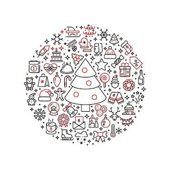 Grafica natalizia icone di arte di linea di natale disposte in palla