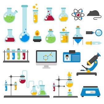 Grafica set laboratorio chimico scienza piatta.