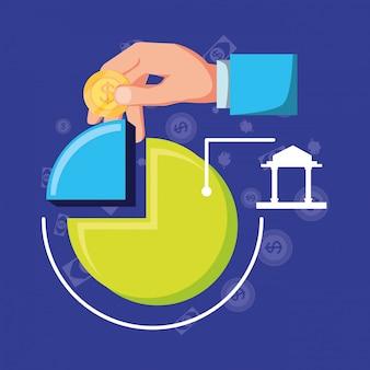 Grafica statistica con set icone finanza economia