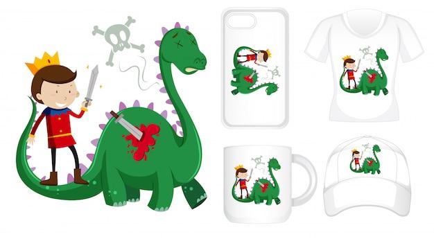 Grafica su diversi prodotti con cavaliere e drago