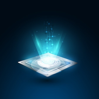 Grafica vettoriale sfondo di tecnologia velocità processore chip. illustrazione vettoriale
