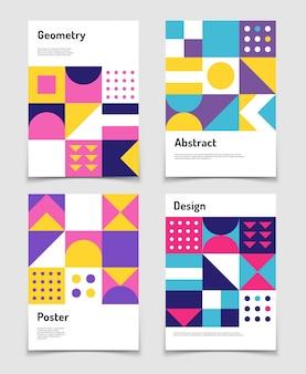 Grafica vintage svizzera, forme geometriche del bauhaus. manifesti di vettore in stile minimalismo minimalista. illustrazione del catalogo album, banner modernismo del giornale bauhaus