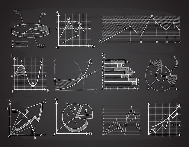 Grafici di affari di finanza disegnati a mano