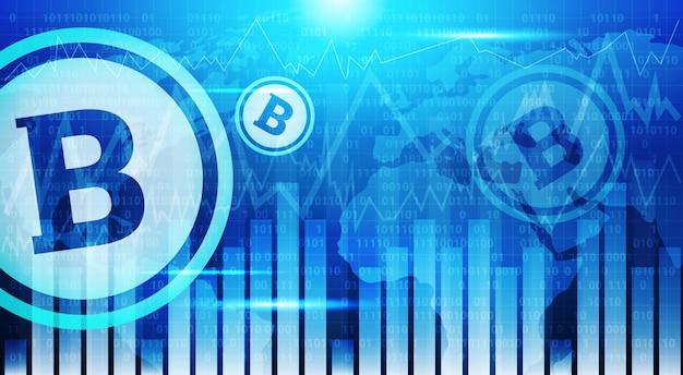 Grafici di bitcoin sulla bandiera di infographic di dati di concetto di valuta di crypto del fondo della mappa di mondo blu